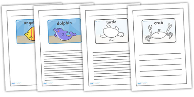 Black and White Lined Writing Frames to Support Teaching on Commotion in the Ocean - commotion in the ocean colour and write, commotion in the ocean writing frames, under the sea