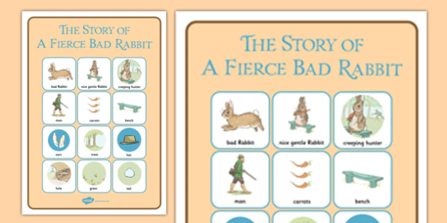 Beatrix Potter - The Story of a Fierce Bad Rabbit Vocabulary Poster - beatrix potter, fierce, bad, rabbit