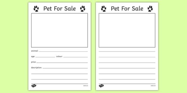 Pet for Sale Writing Template - Pet shop, pets, pet, role play