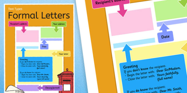 Text Types Guide Formal Letter Display Poster - formal letter poster, formal letter display poster, writing a formal letter, how to write a letter, ks2