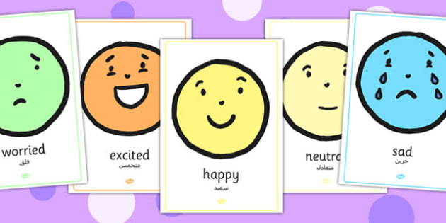 Emotion A4 Face Display Posters Arabic Translation - arabic, emotion, a4, face