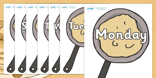 Days of the Week on Pancakes - Days of the Week, Weeks poster, week, display, poster, frieze, Days, Day, Monday, Tuesday, Wednesday, Thursday, Friday, Saturday, Sunday