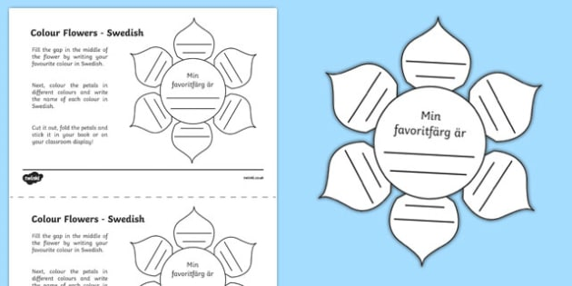 MFL Swedish Colour Flowers Activity Sheet, worksheet