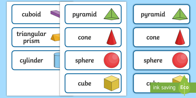3D Shape Word Cards - 3D Shape names, Shape Flashcards, Shape