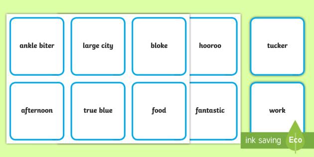 Australian slang Matching Cards - match up, australia, australian english, english, Australia