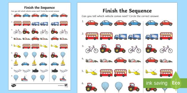 Finish The Sequence Transport Worksheet - transport, worksheet