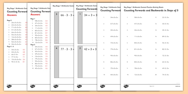 KS1 Arithmetic Content Activity Sheet Pack Counting Forwards and Backwards in Steps of 3 - Maths, KS1, Key Stage 1, Arithmetic, counting, worksheet