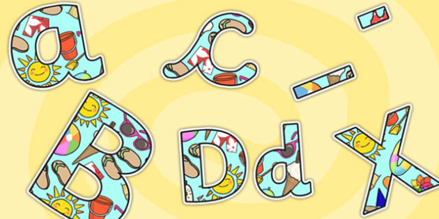 Summer Themed A4 Display Lettering - summer, display lettering, summer display lettering, lettering, lettering for display, a4 display letters, a4