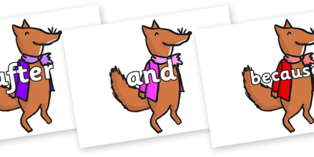 Connectives on Small Fox 1 to Support Teaching on Fantastic Mr Fox - Connectives, VCOP, connective resources, connectives display words, connective displays