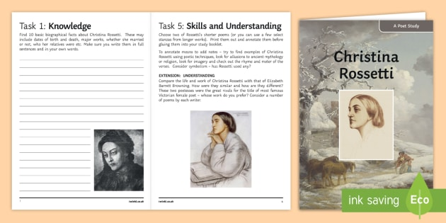 GCSE Poetry   Christina Rossetti Poet Study Pack