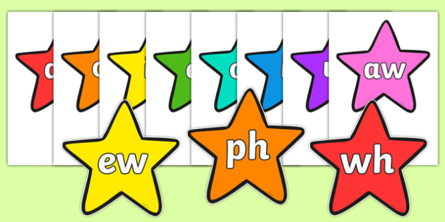 Phase 5 Phonemes on Multicolour Stars - phase 5, phonemes, stars, multicolour