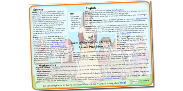 Snow White and the Seven Dwarfs Lesson Plan Ideas KS1 - snow, white, seven, dwarfs, lesson, plan, lesson plan, ideas, lesson ideas, KS1, KS1 ideas