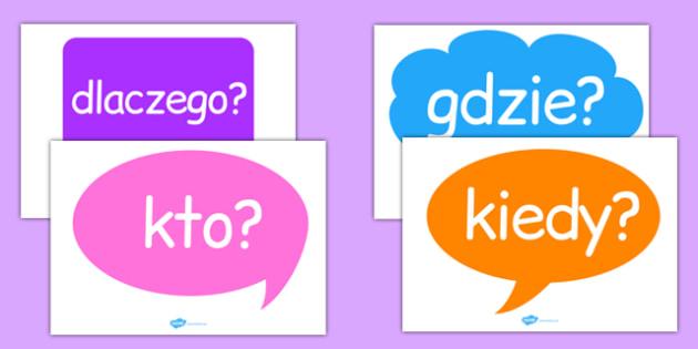 Pytania w dymkach po polsku - słowa, chmurki, dlaczego