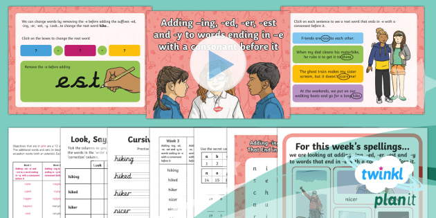 PlanIt Y2 Term 2A W3: Adding -ing, -ed, -er, -est, -y to Words Ending in  e Spelling Pack - Spellings Year 2, Term 2A, Week , suffixes, ing, ed, er, est, y
