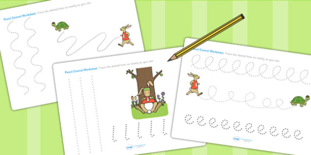 The Tortoise and The Hare Pencil Control Sheets - motor skills