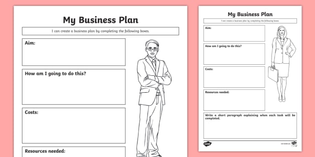 My Business Plan Activity Sheet CfE Enterprise financial – Business Plan Worksheet