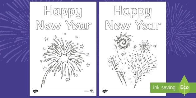 Happy New Year Fireworks Colouring Pages, Requests KS1, fireworks, colouring, coloring, new year, happy, celebrations