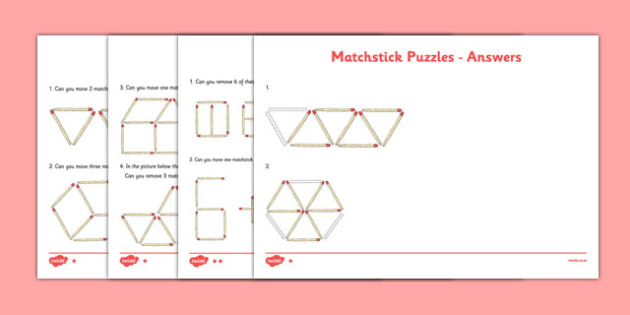 Differentiated Matchstick Puzzles -Logic, trial and error, thinking, puzzle, problem solving, lateral thinking, game, activity