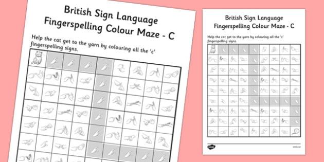 British Sign Language Fingerspelling Colour Maze C - colour, maze