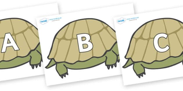 A-Z Alphabet on Tortoises - A-Z, A4, display, Alphabet frieze, Display letters, Letter posters, A-Z letters, Alphabet flashcards