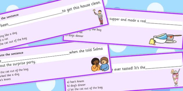 Animal Idioms Complete The Sentence - animal, idioms, sentence