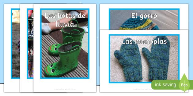 Winter Clothes Display Photos  - Winter, KS2, clothes, display, photographs,Spanish