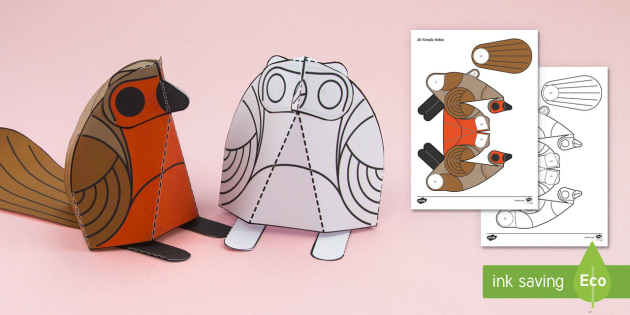 Simple 3D Christmas Robin Activity Paper Craft