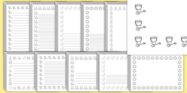 Editable Seaside Black and White Page Borders Pack - seaside