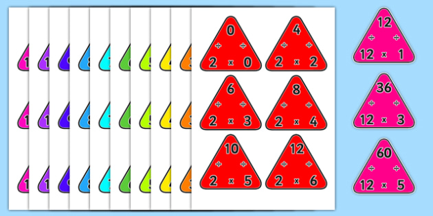 2-12 Multiplication Triangles - 2-12, multiplication, triangles, maths, numeracy