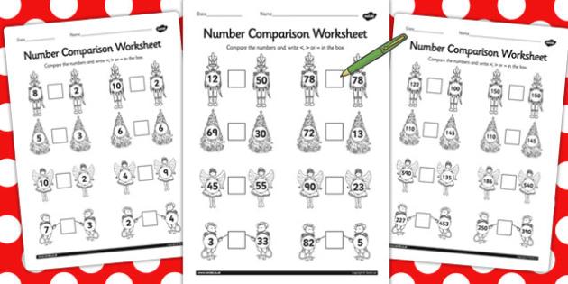 The Nutcracker Number Comparison Worksheets - nutcracker, number