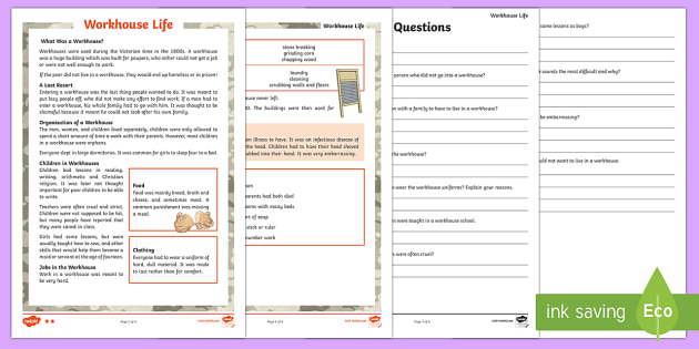 KS2 Workhouses Differentiated Reading Comprehension Activity - KS2 Workhouses, paupers, poor people, reading comprehension, year 3, year 4, year 5, year 6, guided