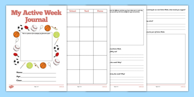 My Active Week Journal - my active week, active week, active, week, journal