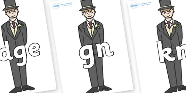Silent Letters on Grooms - Silent Letters, silent letter, letter blend, consonant, consonants, digraph, trigraph, A-Z letters, literacy, alphabet, letters, alternative sounds