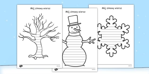 Arkusze na zimowe wiersze po polsku - rymy, pisanie, poezja