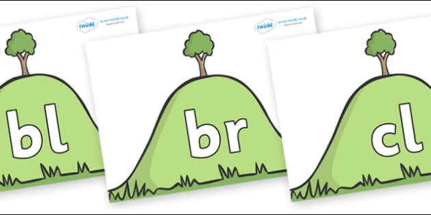 Initial Letter Blends on Hills - Initial Letters, initial letter, letter blend, letter blends, consonant, consonants, digraph, trigraph, literacy, alphabet, letters, foundation stage literacy