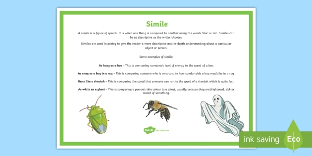 Simile Poetry Terms A4 Display Poster - Literacy, Interpreting, analysing, evaluating, english, poetry, writing, poems, poetry, simile, glos