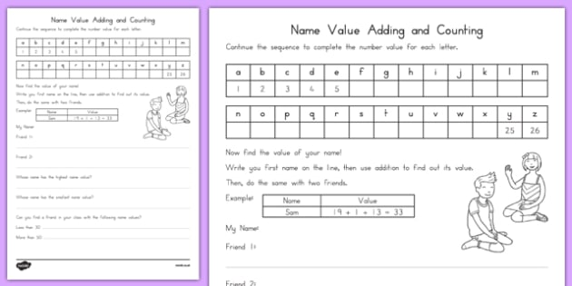 Name Value Adding and Counting Activity Sheet, worksheet