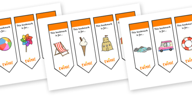 Editable Seaside Bookmarks - Bookmark, bookmark template, fantasy, gift,  present, book, reward, achievement, Under the sea, sea, seaside, topic, water, tide, waves, sand, beach, sea, sun, holiday, coast