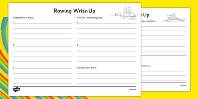 The Olympics Rowing Write Up Worksheet - the olympics, rio olympics, rio 2016, 2016 olympics, rowing, write up