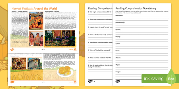 Harvest Festivals Around the World Differentiated Reading Comprehension Activity