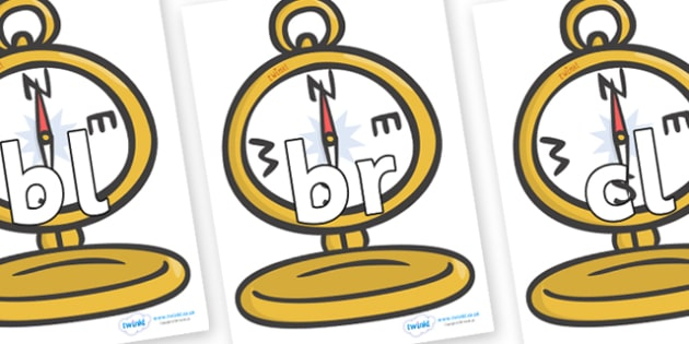 Initial Letter Blends on Pocket Watches - Initial Letters, initial letter, letter blend, letter blends, consonant, consonants, digraph, trigraph, literacy, alphabet, letters, foundation stage literacy