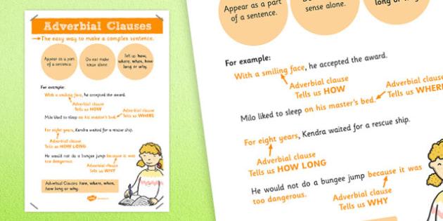 Adverbial Clauses Poster - adverbial, clauses, poster, display