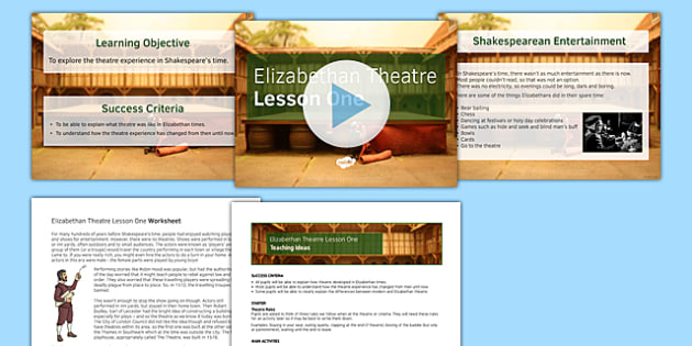 Introduction to Shakespeare Lesson Pack 2: Elizabethan Theatre Lesson Pack
