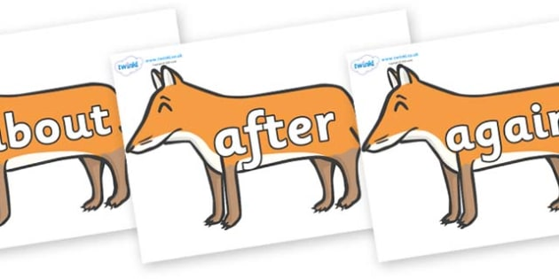 KS1 Keywords on Foxes - KS1, CLL, Communication language and literacy, Display, Key words, high frequency words, foundation stage literacy, DfES Letters and Sounds, Letters and Sounds, spelling
