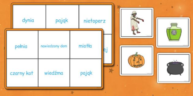 Gra Bingo Halloween po polsku - wiedźma, czar, duch