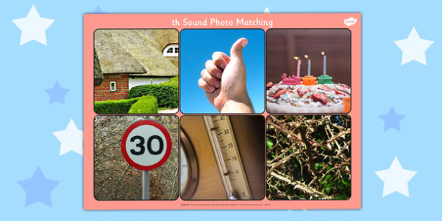 Initial 'th' Sound Photo Matching Board and Cards - matching