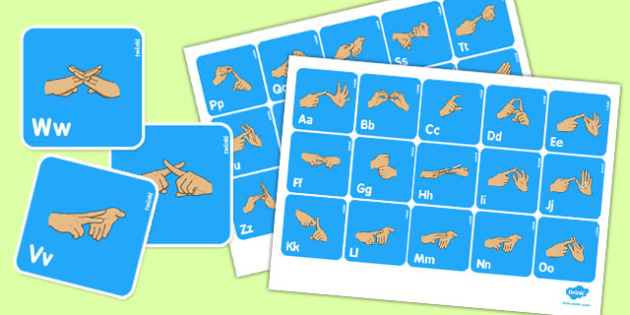 British Sign Language Manual Alphabet Flash Cards - flash cards