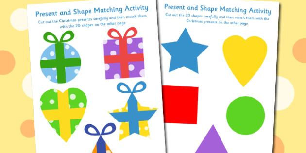 Present and Shape Matching Activity - present, shape, matching