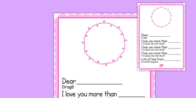 I Love You More Than MotherS Day Card Template Blank Romanian