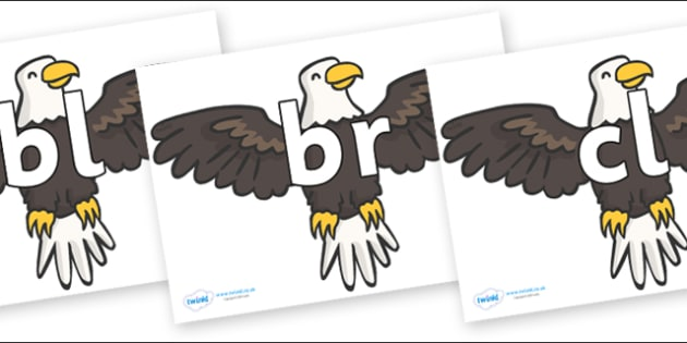 Initial Letter Blends on Eagles - Initial Letters, initial letter, letter blend, letter blends, consonant, consonants, digraph, trigraph, literacy, alphabet, letters, foundation stage literacy